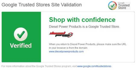 Diesel Power Products has been accepted into Google Trusted Stores