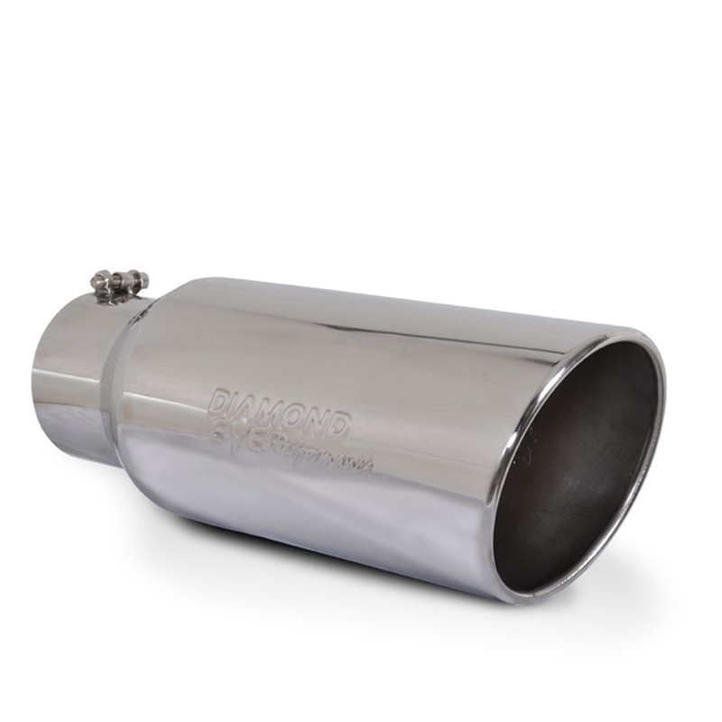 """MBRP 4/"""" to 6/"""" Rolled End Angled Cut Polished Stainless Steel Exhaust Tip T5073"""